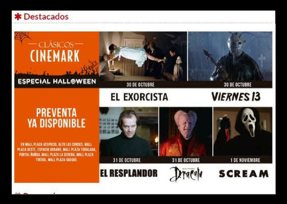 Ofertas de Cinemark, Destacados