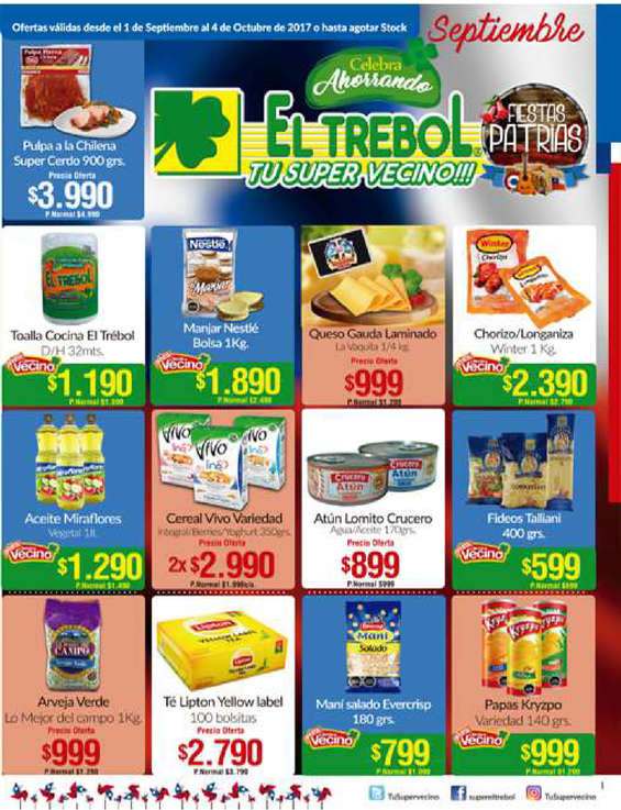 Ofertas de Supermercado El Trébol, celebra septiembre ahorrando