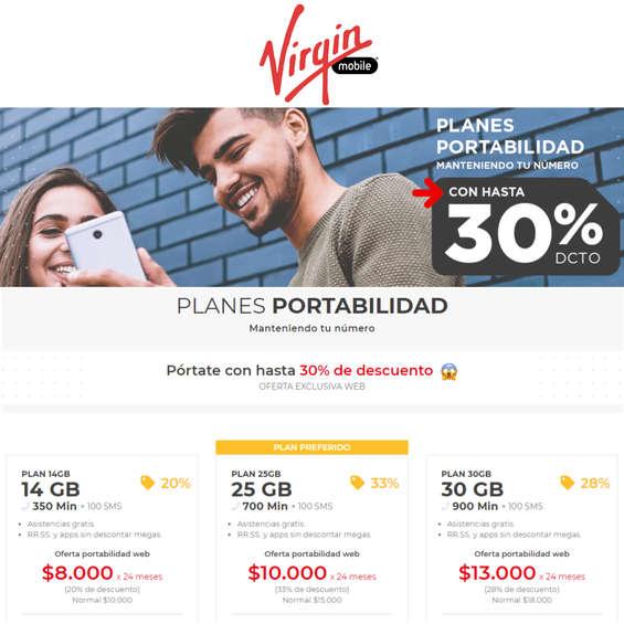 Ofertas de Virgin Mobile, Planes Portabilidad